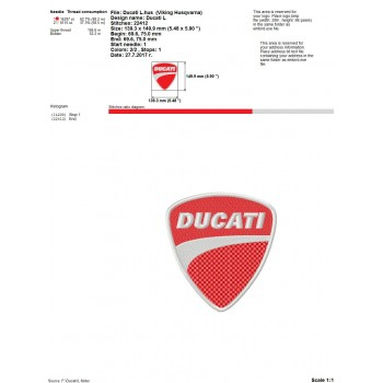 Ducati logo machine embroidery design for instant download
